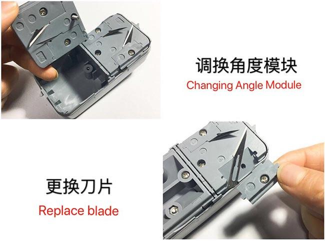 会易kt板开槽器切换工作模式和更换刀片的示意图